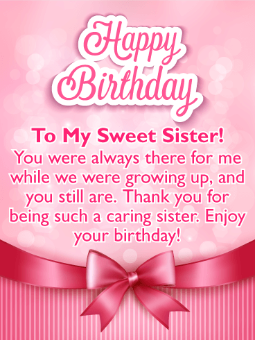 Birthday cards for sister birthday greeting cards by davia to my sweet sister pink ribbon happy birthday card m4hsunfo