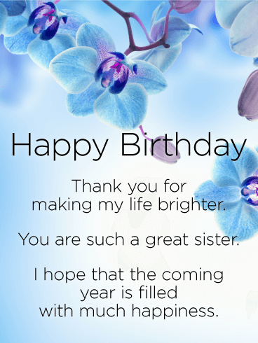 Thank You for Making my Life Brighter - Happy Birthday Wishes Card for Sister