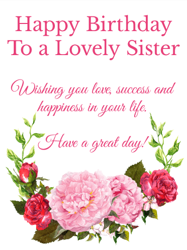 To a lovely sister happy birthday wishes card birthday to a lovely sister happy birthday wishes card bookmarktalkfo Gallery