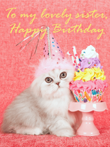 Pretty Cat Happy Birthday Card For Sister