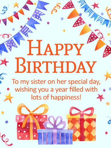 Wishing You Lots of Happiness - Happy Birthday Wishes Card for Sister