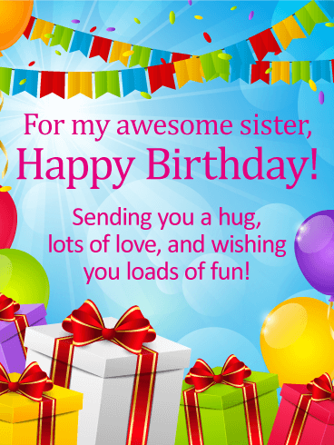 For My Awesome Sister Happy Birthday Wishes Card Birthday