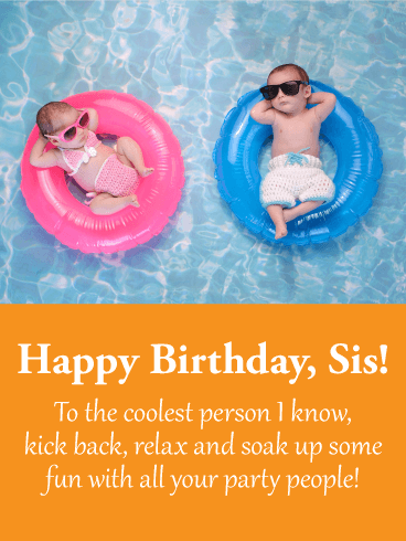 To the Coolest Sister - Happy Birthday Wishes Card