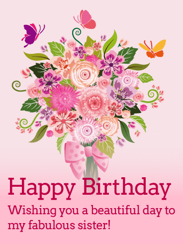 Flower Bouquet Happy Birthday Card