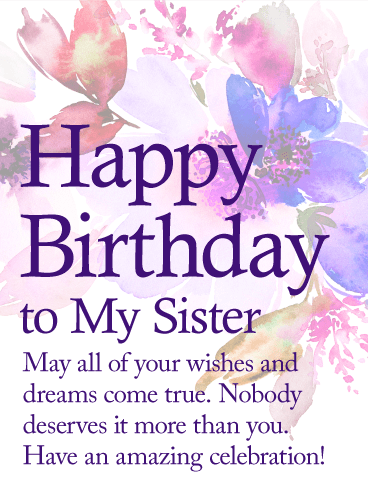 Birthday Wishes For Sister.May Your Dream Come True Happy Birthday Wishes Card For