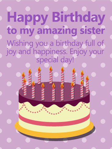 Purple Polka-Dots Happy Birthday Card for Sister
