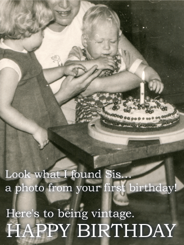 Vintage Funny Birthday Card For Sister