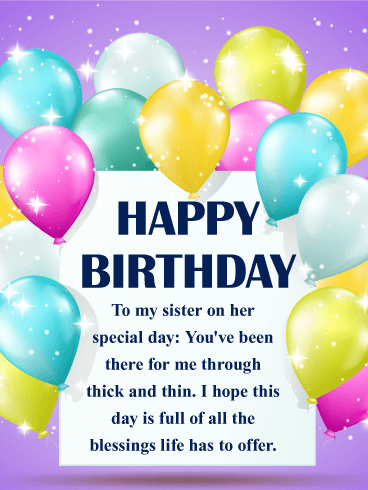 Full of Blessings - Happy Birthday Wishes Card for Sister