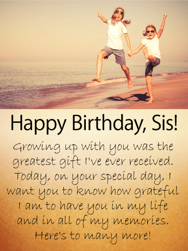 Good Childhood Memories - Happy Birthday Wishes Card for Sister