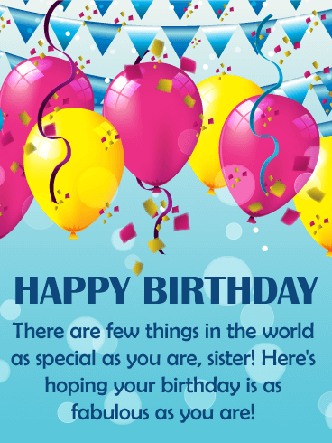 To my Fabulous Sister - Happy Birthday Wishes Card