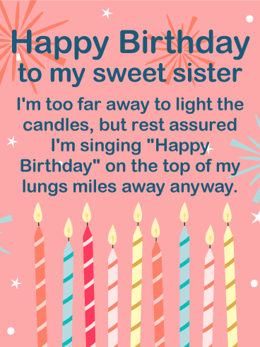 To my Sweet Sister - Happy Birthday Wishes Card | Birthday ...