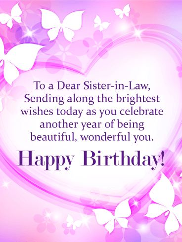 To my Wonderful Sister-in-Law - Happy Birthday Card