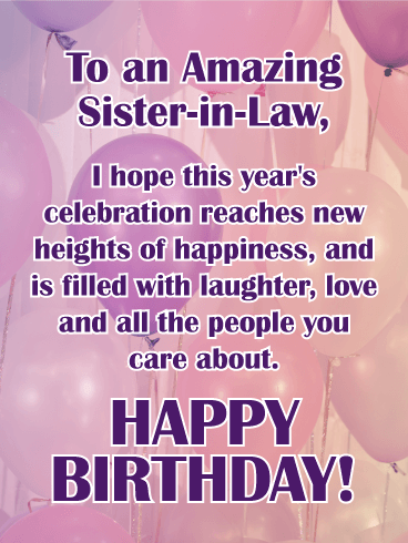 wishing you happiness happy birthday card for sister in law