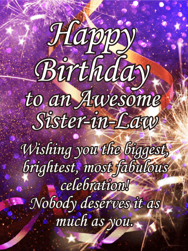 Sparkle happy birthday card for sister in law birthday greeting sparkle happy birthday card for sister in law m4hsunfo