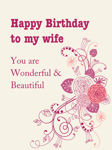 You are Wonderful & Beautiful - Birthday Card for Wife