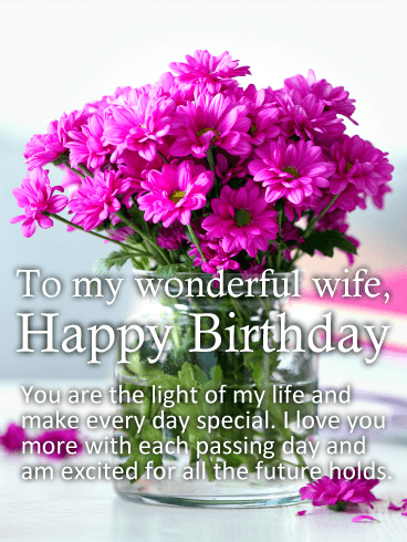 to my wonderful wife happy birthday you are the light of my life and