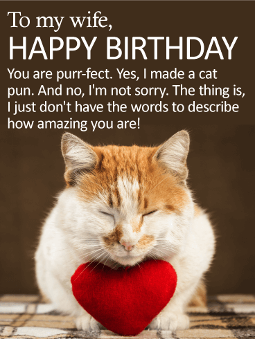 You are Purr-fect! Happy Birthday Card for Wife