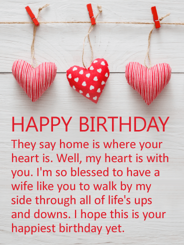 My Heart is With You - Happy Birthday Card for Wife