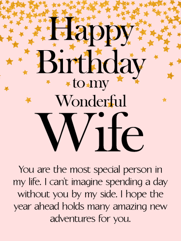 to my wonderful wife star happy birthday wishes card