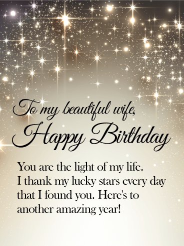 You are the Light of my Life - Happy Birthday Wishes Card for Wife