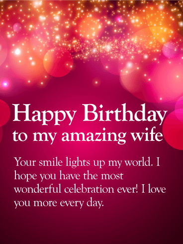 I Love You More Happy Birthday Wishes Card For Wife