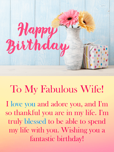 Pastel Flowers Happy Birthday Card for Wife