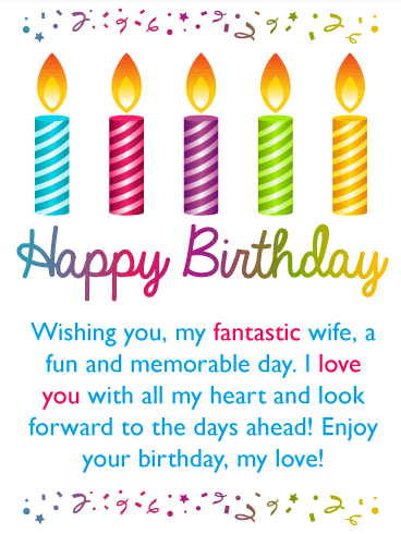 Colorful Festive Candles Happy Birthday Card for Wife