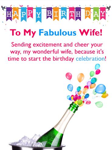 Sending Cheer Happy Birthday Card For Wife Birthday Greeting