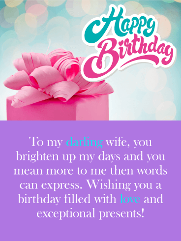 You Brighten up my Days - Happy Birthday Card for Wife
