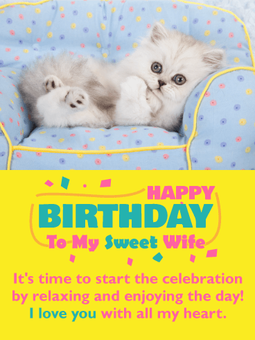 Sweet Kitten Happy Birthday Card for Wife