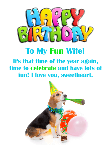 Fun Celebration! Happy Birthday Card for Wife