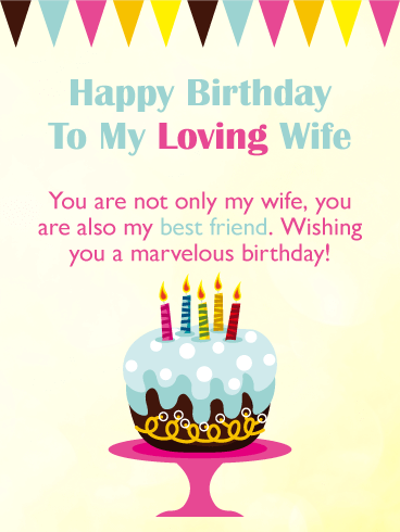Wishing You a Marvelous Day! Happy Birthday Card for Wife