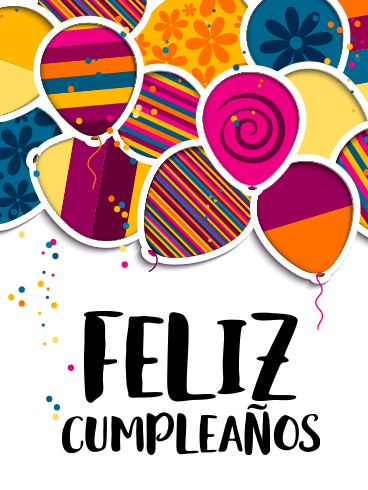 Happy Birthday Balloon Card in Spanish - Feliz Cumpleaños