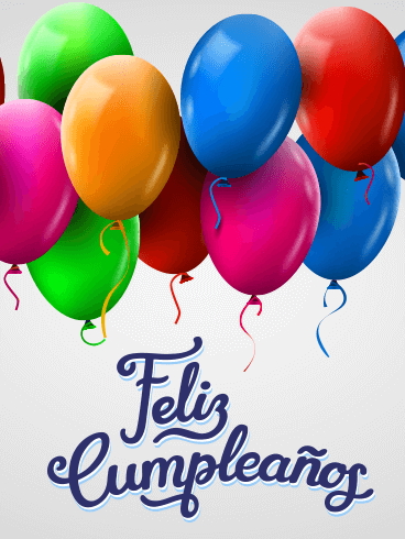 Colorful Happy Birthday Balloon Card In Spanish Feliz Cumpleaos