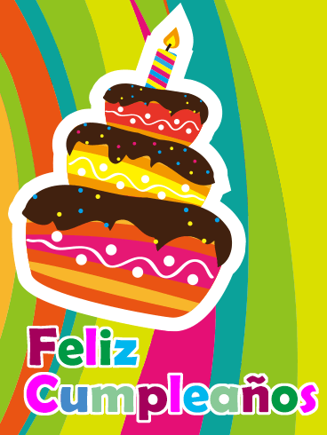 Happy Birthday Cake Card in Spanish - Feliz Cumpleaños