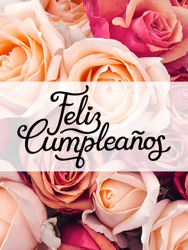 Happy Birthday Flower Card in Spanish - Feliz Cumpleaños