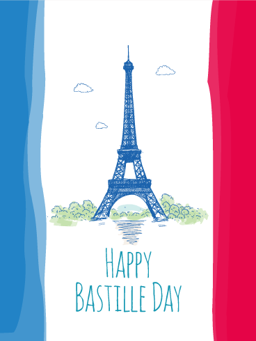 Hand Painting Style Happy Bastille Day Card