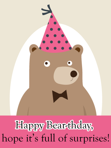 Surprised Bear – Cute Birthday Animal Card