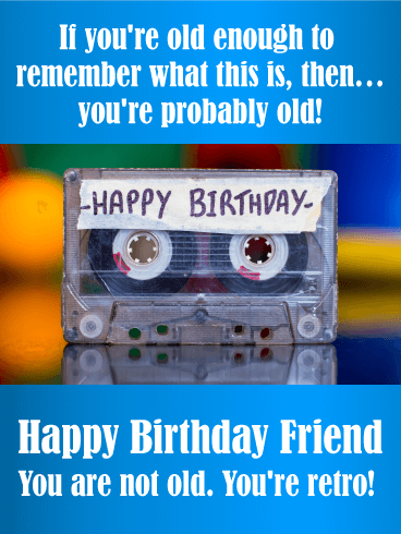 Youre Retro Funny Birthday Card For Friends