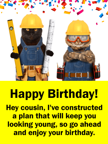Construction Cats Funny Birthday Card for Cousin