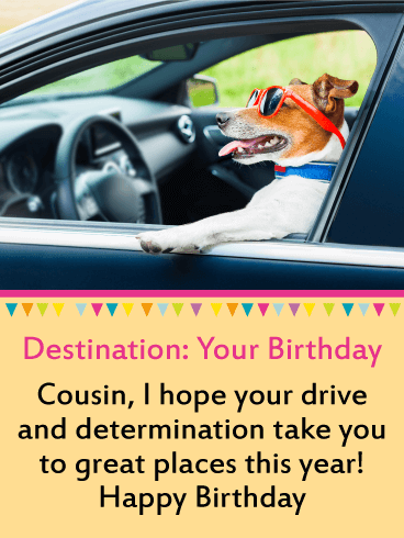 Driving Dog Funny Birthday Card for Cousin