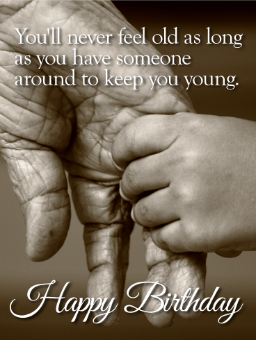 Held by Young Hands - Happy Birthday Wishes Card