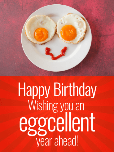 Wishing You an Eggcellent Year! Funny Birthday Card