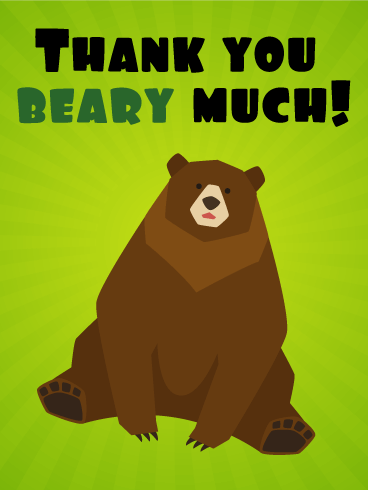 Cute Bear Funny Thank You Card