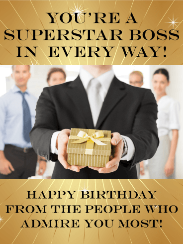 You are a Superstar! Happy Birthday Wishes Card for Boss