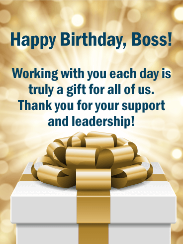 Working with You is a Gift! Happy Birthday Wishes Card for Boss