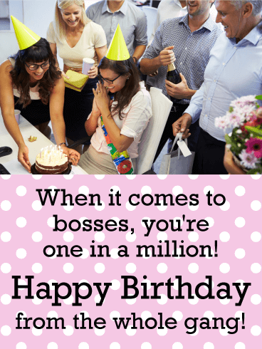 You are one in a Million! Happy Birthday Card for Boss