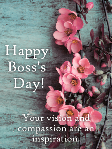 Pink Flower Happy Boss's Day Card