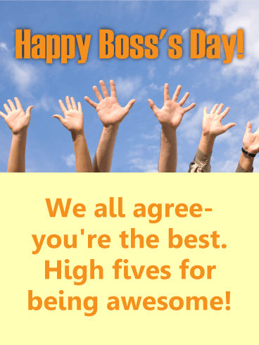 High Five for Awesome Boss! Happy Boss's Day Card