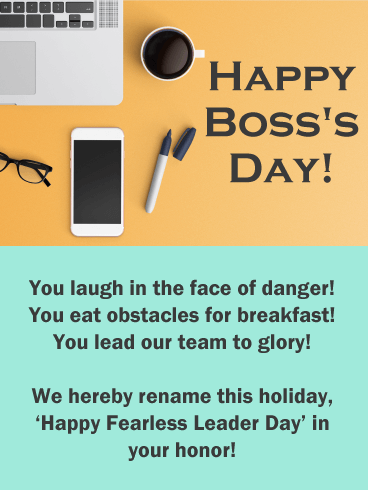 You are a Fearless Leader - Happy Boss's Day Card
